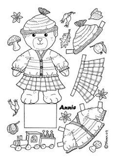 Karens Kravlenisser. Cut-outs and Colouring Pages. : Christmas Bear and Doll Cut-outs to Colour. Jule bamse og dukke klippeark til at farvelægge.