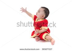 Cute Asian baby in traditional Chinese suit Isolated on white background, Chinese New Year Concept - stock photo