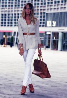 Back in Town  , Zara in Cardigans, Viridì in Jewelry, J Brand in Jeans, Hermes in Belts, Hermes in Bags, Le Silla in Heels / Wedges