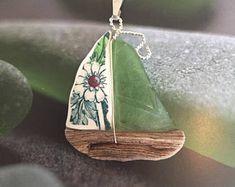 Sea glass, China, Driftwood Sailboat Necklace
