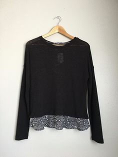 SANCTUARY Cute Casual Round Neck Layered Knit Sweatshirt Blouse Top XS Black $90 #Sanctuary #KnitTop #EveningOccasion