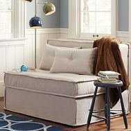 This is a great way to incorporate a lounge area into a room and still be able to have sleepovers!