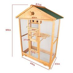 Magshion Deluxe House Shape Bird Cage with Hatch Room, Feed Door, Perch,Tray Natural Aviary Small Birds, Pet Birds, Diy Bird Cage, Large Bird Cages, Bird Aviary, Cat Enclosure, Building A Chicken Coop, Parakeet, Bird Houses