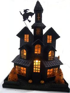 Black Glittered Halloween House