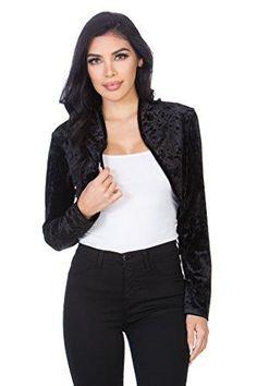 cacb09569f803 Fashion Secrets Women`s Collarless Velvet Velour Bolero Shrug Cardigan  Cropped Denim Jacket, Blazer