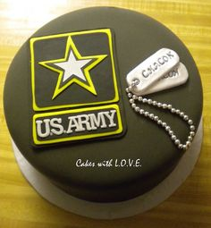 Make into a layered cake with more army stuff on it for Mike's retirement party Army Cake, Military Cake, Military Cupcakes, Army Cupcakes, Military Party, Military Mom, Army Birthday Cakes, Army's Birthday, Birthday Ideas