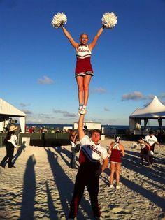 Alabama Crimson Tide cheerleaders at pep rally: Jan. Cheerleading Jumps, College Cheerleading, Cheer Stunts, Crimson Tide Football, Alabama Football, Alabama Crimson Tide, Cheer Pictures, Cheer Pics, Football Girls