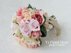 白ピンクのバラブーケ  アーティフィシャルフラワー  ys floral deco