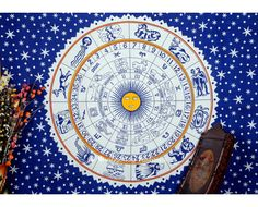 Bohemian Astrological Tapestry Wall Hanging. #bedspread #bohotapestry #bedding #bohemain #wallhanging #hippietapestry #throw #beachcover #homedecor #mandala #vedindia #onlinestore