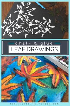Learn how to draw a leaf then put those skills into action with this pastel chalk and glue leaf drawing done on black paper. Watch those colors pop! Fall Crafts, Kids Crafts, Arts And Crafts, Art Wall Kids, Art For Kids, Glue Art, Fall Art Projects, Leaf Drawing, Manga Drawing