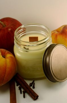 Wood Wick Soy Jar Candle  Spicy Apples & by Blackberrythyme, $9.00