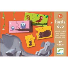 Match the baby animals to their mothers in this adorable mom & baby puzzle duo from Djeco. The 2 piece puzzles are illustrated with 12 different animals. Mama Baby, Mom And Baby, Baby Laden, Baby Motiv, Puzzles For Toddlers, Educational Games, Toys Shop, Baby Prints, Fun Learning