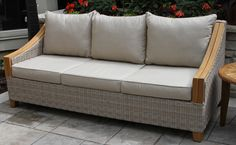 Vineyard Teak U0026 Wicker Sofa With Sunbrella Cushions U0026 Pillows