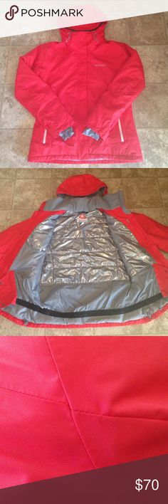 Columbia POWderhouse™ II Jacket Awesome orangish red waterproof coat. Details are shown in the last photo. **Excellent condition!** It has only been worn a handful of times. The only reason I'm selling it is because it is just too big for me. Columbia Jackets & Coats
