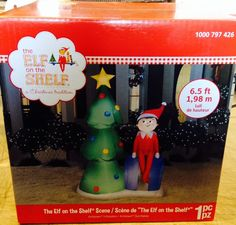 ELF ON THE SHELF CHRISTMAS TREE SCENE Gemmy Airblown Inflatable Yard Decor