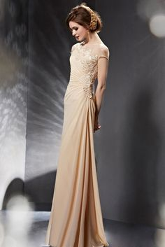 3d0d027cc80 Champagne Asymmetrical Grecian Modest Formal Prom Evening Dress with Short  Sleeves