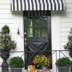 DIY Striped Awning over side entry door.