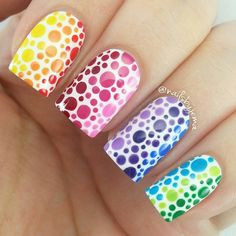 """""""THROWBACK to these colourful pretties from over a year ago! I need to recreate these again.. No new nail art since I am sooooo sick with the most painful…"""""""