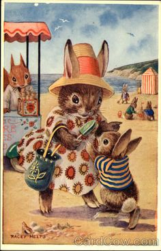 At the Seaside by Racey Helps - Bunny Rabbits - Children's Book Illustrations!!