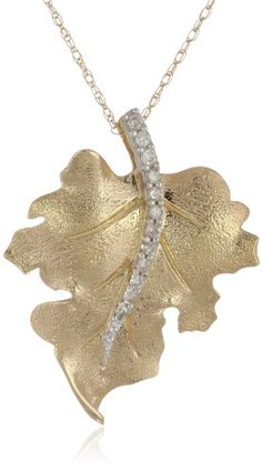 """10k Yellow Gold and Diamond Leaf Pendant Necklace (1/10 cttw, I-J Color, I2-I3 Clarity), 18"""" Amazon Collection http://www.amazon.com/dp/B000TKBQ7M/ref=cm_sw_r_pi_dp_LpLmvb0YADXAD"""