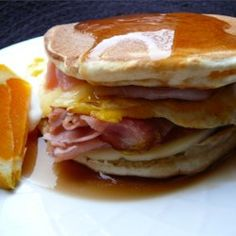 Breakfast And Brunch, Leftover Pancake Breakfast Sandwich, Ham, Cheese, And A Fried Egg Are Sandwiched Between Two Buttermilk Pancakes And Covered With Syrup. A Great Way To Use Up Leftover Pancakes! Breakfast And Brunch, Breakfast Pancakes, Breakfast Items, Pancakes And Waffles, Breakfast Dishes, Best Breakfast, Mexican Breakfast, Fluffy Pancakes, Pancake Bar