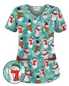 UA Jolly Snowmen Mint Condition Scrub Top - Style # H638JMC #uniformadvantage #uascrubs #holidayscrubs