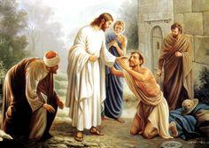 Jesus healing blind man.