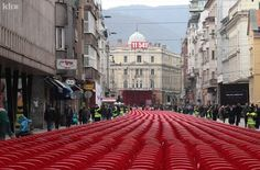 11,541 red chairs on the main street to symbolize the lives lost in Sarajevo (1992-1996) during the longest siege of a capital city in the history of the modern warfare.