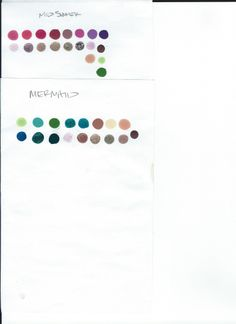color swatches for final challenge.  mid summer as option one, and mermaid as option two.