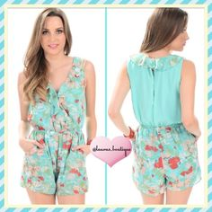 {Boutique} Mint Green Floral Romper HPNWT secret garden chic sleeveless mint floral romper! This lovely romper features chiffon fabric, & is fully lined with a ruffled neckline. The back slit is a sexy detail that gives a sassy feel. Team it with a pair of platform sandals! It features a slip on style with elastic waist & keyhold button closure.   *100% Polyester *Hand Wash *M 6-8  *Bundle discounts, Smoke-free, No trades Laura's Boutique Pants Jumpsuits & Rompers