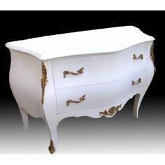 Commode baroque de style Louis XV blanche avec 2 tiroirs chest white