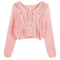 Catkit Women Vintage Sweater Long Sleeve Eyelet Cable Lace Up Crop Top... ($17) ❤ liked on Polyvore featuring tops, sweaters, cable-knit sweater, long sleeve crop sweater, pink crop top, cable knit sweater and laced up top