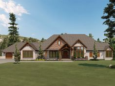 074H-0152: Mountain House Plan with Walkout Basement Duplex House Plans, Luxury House Plans, Craftsman House Plans, Mountain Ranch House Plans, Timber Beams, Safe Room, Front Rooms, Large Windows, Shake Siding