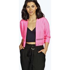 Boohoo Sumiya Crop Scallop Hem Lazer Cut Jacket ($10) ❤ liked on Polyvore featuring outerwear, jackets, pink, quilted jacket, duster coat, pink jacket, pink quilted jacket and quilted bomber jacket