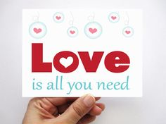 Set of 6 Love is all you need cards  Valentine's by Mariapalito, $12.00