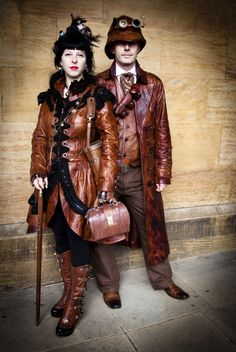 Steampunk Victorian Burlesque Costume Bespoke Leather Dress Coat Impero London. $1,380.00, via Etsy.
