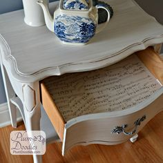 French End Table w Decoupage Music Drawer | PlumDoodles.com