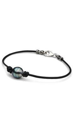 Blue-Green Tahitian Baroque Pearl & Leather Bracelet by Pure Pearls $45