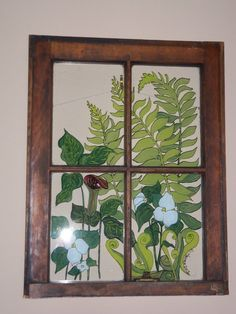 Painted Vintage Window  Woodland Garden by 1HeavnCreations on Etsy, $135.00