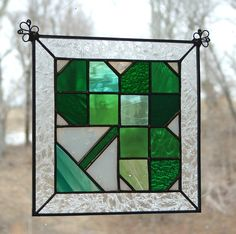 stained glass shamrock | Stained Glass Irish Shamrock Quilt Block Panel-Green