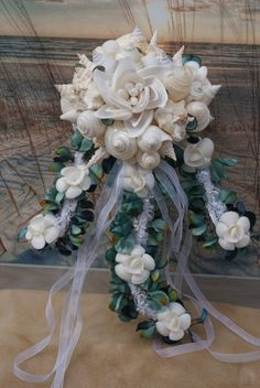 Handmade Seashell Flower Cascading by SlyCreationsBouquets on Etsy