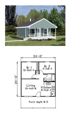 Narrow Lot House Plan 85939 | Total Living Area: 576 sq. ft., 2 bedrooms and 1 bathroom. #narrowlothome
