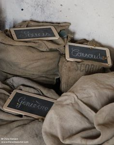 Sacks of plant preparations, in the tisanerie at Château Climens, April 2014