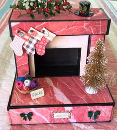 Warm & Cozy Fireplace & Lapbook made by crafter Diane DeMauro. The latest Paper Phenomenon collaboration with Janice Freeman using various paper collections. Prima: Santa Baby, Sugar Crush, and Stamperia: Pink Christmas.