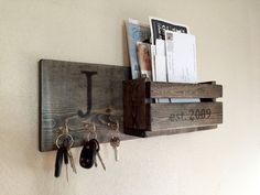 Rustic Monogram Mail and Key Holder in Ebony, Letter and Key Organizer…