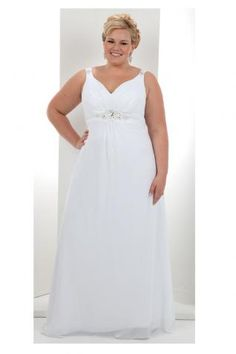 This plus size bridal gown has hiding power when it comes to the midsection. Very figure flattering!