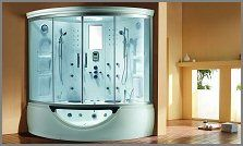 Description Of Steam Shower Caribbean    Brand new multifunction computerized massage steam shower-whirlpool combo with 12 acupuncture body massage jets, 12 whirlpool jets, 10 air bubble jets, underwater lighting, digital control panel w/ remote control, aromatherapy, rain forest shower head, 2 handheld shower heads. radio, padded seating for two persons , telephone, sliding doors and more!