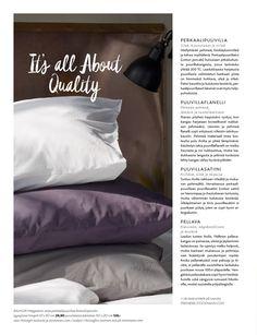 Home: All About Quality / erilaiset materiaalit liinavaatteissa