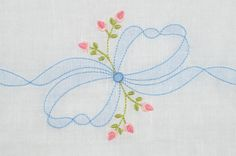 SE1003 Shadow Embroidered Bow with Rosebuds/Two Versions - KLD Embroidery Designs