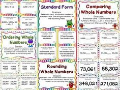 I have included a place value chart, cover sheets with directions for each set of cards, 9 sets of cards (a total of 148 cards in all), student recording sheets, and answer keys. You will find the following sets of cards: place value, base ten blocks, base ten blocks with regrouping, standard form, expanded form, word form, comparing whole numbers, rounding whole numbers, and ordering whole numbers $